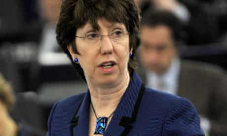 Britain and Germany have told Cathy Ashton the EU should call for Libya's Gaddafi to step aside