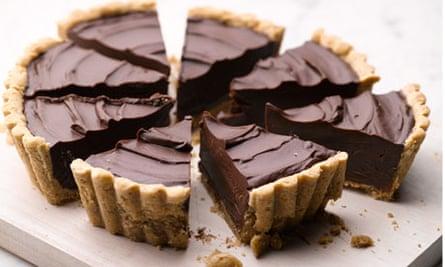 Pecan crusted chocolate tart