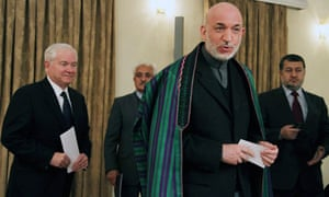 Afghan president Hamid Karzai pictured during a recent visit by US defence secretary Robert Gates
