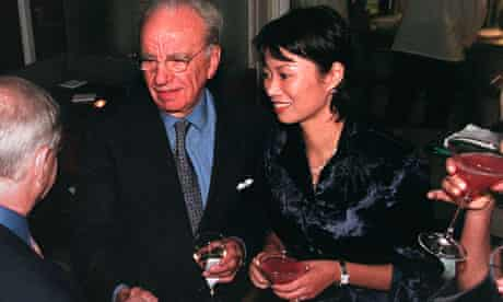 Rupert Murdoch and his wife Wendy greet guests at a party given by the New York Post in 2000
