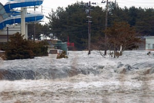 Japan earthquake: The area is flooded by tsunami in Iwaki, Fukushima Prefecture, Japan