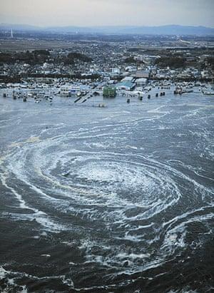 Japanese Earthquake: Tsunami swirls near a port, Oarai, Ibaraki Prefecture