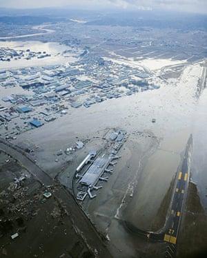 Japanese Earthquake: Tarmac covered with water at Sendai Airport, Miyagi Prefecture
