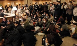 Stranded people in a Tokyo hotel
