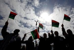 Benghazi Protests: Anti-Libyan leader Moammar Gadhafi protesters in Benghazi