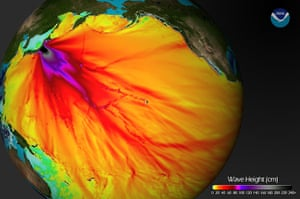 Japan Tsunami: The expected wave heights of the tsunami as it traveled across the Pacific