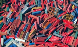 Cargo containers thrown around by the tsunami in Sendai, northern Japan