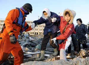 Japan - the day after: Residents of Sendai