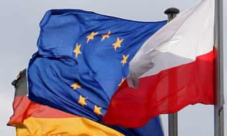 The German, EU and Polish flags