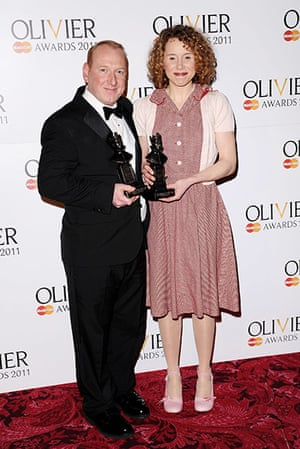 Olivier awards: Adrian Scarborough and Michelle Terry pose at the Olivier Awards 2011
