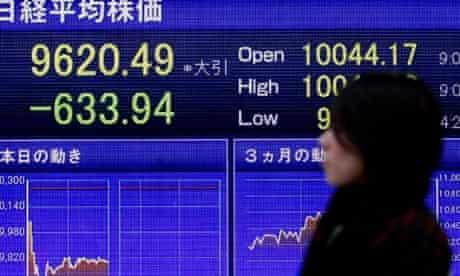 Nikkei index falls following Japan earthquake