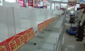 Empty shelves in Tokyo