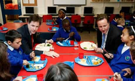 Nick Clegg and David Cameron at a primary school in Nottingham last autumn