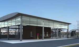 The new Edinburgh Airport tram stop was described as looking like a 'cowshed' by one local councillor   pic: Edinburgh Trams