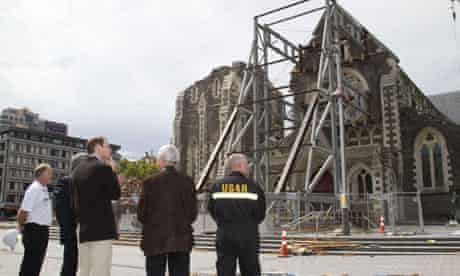 Prince William visits the earthquake-damaged ChristChurch cathedral in Christchurch, New Zealand