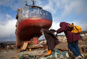 Japan aftermath: Ship that was washed away by the tsunami in Kesennuma
