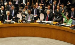 UN security council members vote on the resolution to impose a no-fly zone on Libya
