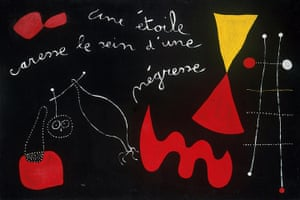Joan Miró : A Star Caresses the Breast of a Negress (Painting Poem), 1938