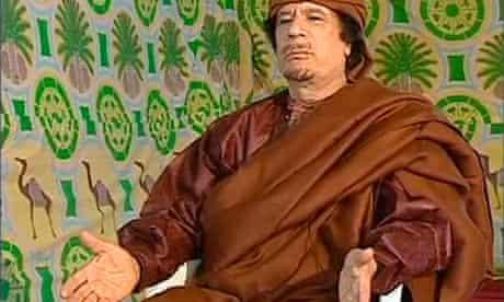 Muammar Gaddafi speaking on Portugal TV in Tripoli on Thursday, before declaring a ceasefire