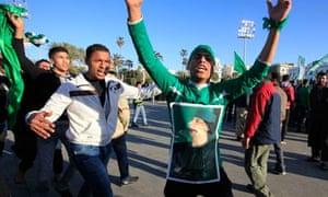 Loyalists in Tripoli voice their support for Muammar Gaddafi
