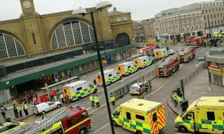 Ambulances outside King's Cross on 7 July 2005