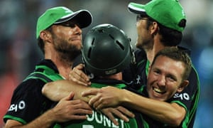Ireland cricketers celebrate after beating England