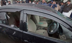 The bullet-riddled car of Shahbaz Bhatti