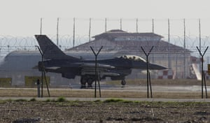 Libya airstrikes: An F-16 jet fighter is parked at the Nato airbase in Aviano, Italy