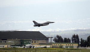 Libya airstrikes: A Danish F-16 aircraft takes off from the Nato airbase in Sigonella, Sicily