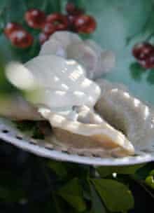 Sweet pierogi with sour cherries