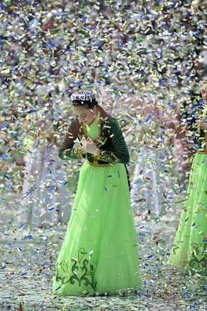 Spring festivals: Folk dancers in national costumes perform in Tashkent, Uzbekistan