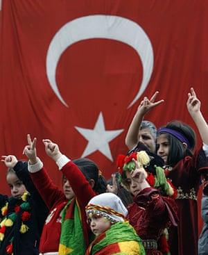 Spring festivals: Turkish Kurdish children celebrate Nowruz in Ankara, Turkey