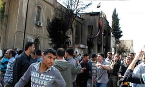 Demonstrators in Deraa, Syria