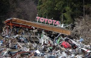 Japan salvage: A Toyota dealership in Minamisanriku town