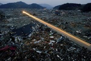 Japan salvage: Destroyed houses and debris in the tsunami-damaged city of Rikuzentakata