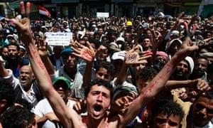 Yemeni protesters demand the resignation of President Ali Abdullah Saleh in Sana'a