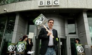 Paul Mason, Newsnight's economics editor, participates in a strike outside BBC Television Centre