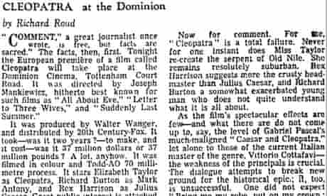 The Guardian's 1963 review of Cleopatra starring Elizabeth Taylor