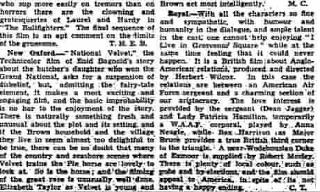 The Guardian's 1945 review of National Velvet, starring Elizabeth Taylor