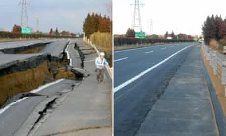 Composite showing how a road devastated by the earthquake was restored in six days in Naka, Japan
