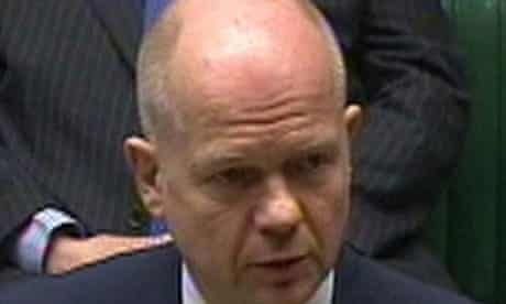 William Hague delivers a statement on the Middle East to MPs in the Commons