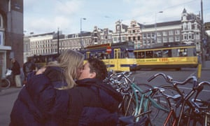 Teenage couple kissing in Amsterdam