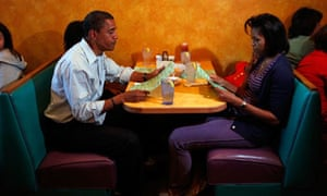 The Obama family in a restaurant