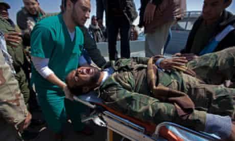 Libyan rebel fighter transferred to ambulance