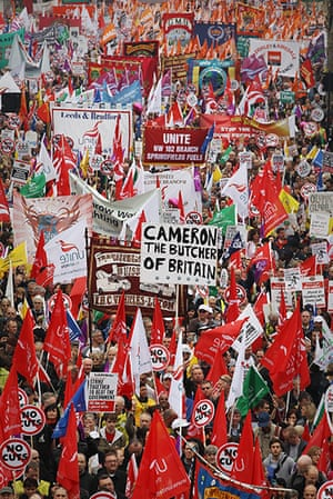Protest against cuts: The demonstrators set off from Embankment, London