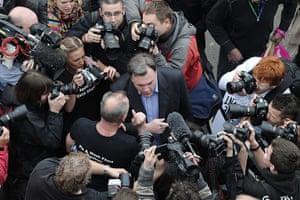 Protest against cuts: Ed Balls meets protestors