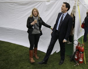 Protest against cuts: Ed Miliband arrives to address a rally in Hyde Park