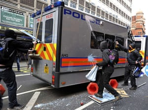 London Protest: Demonstrators attack a police van in Oxford Street