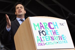 London Protest: Labour party leader Ed Miliband addresses a mass rally in Hyde Park