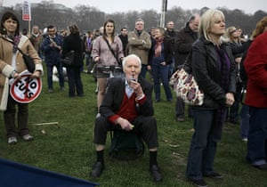 London Protest: Former Labour politician, Tony Benn attends a rally in Hyde Park